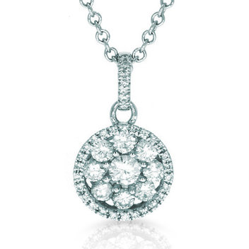 Win an 18CT white gold & diamond cluster pendant