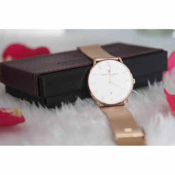 Get a Charles Conrad Rose Gold Mesh Watch