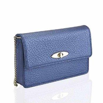 Win a small metallic navy soft textured handbag