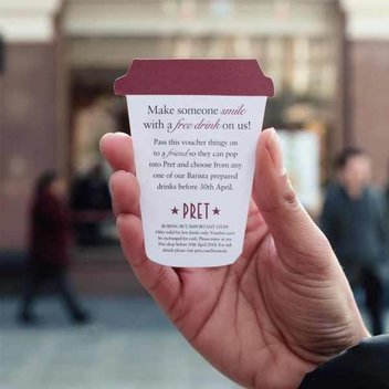 340,000 free drink vouchers at Pret