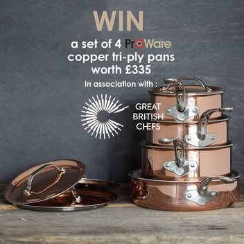Win a set of 4 ProWare copper pans worth £335