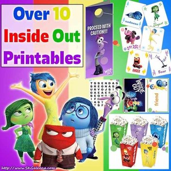 Free Printable Inside Out colouring and activity sheets