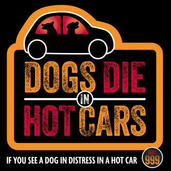 Free 'Dogs Die In Hot Cars' window sticker