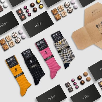 Show your socks for free Hotel Chocolat chocs