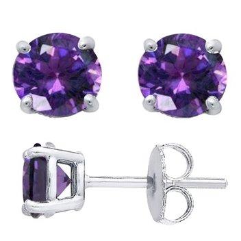 Score free Sterling Silver Round Cut Stud Earrings