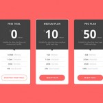Pricing Table PSD Mockup