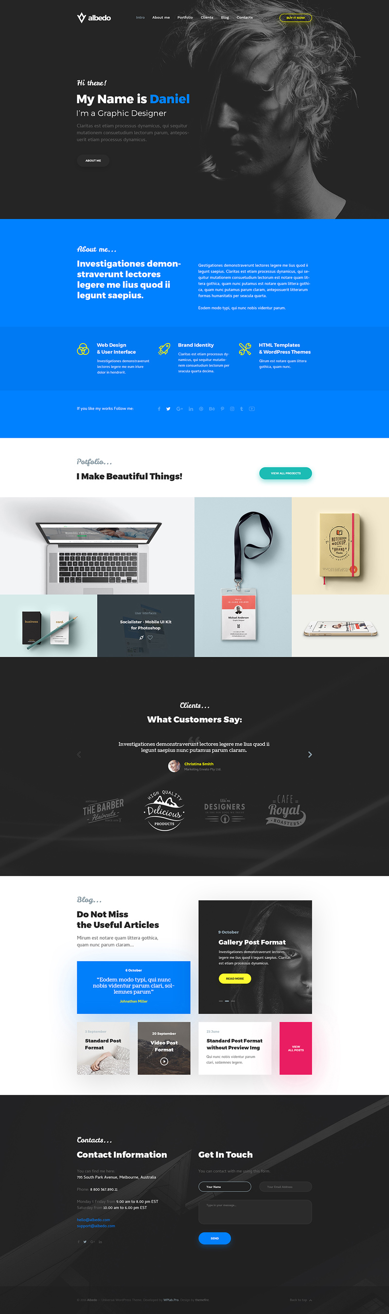 Albedo One Page Personal Template by Themefire - Freebie Supply