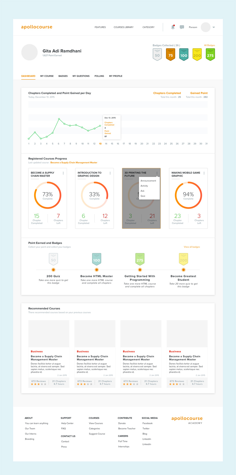 Apollo Online Learning Course Dashboard - Free Sketch - Freebie Supply