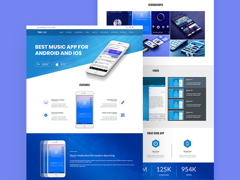 app landing page design template by zoha mushtaq freebie supply. Black Bedroom Furniture Sets. Home Design Ideas