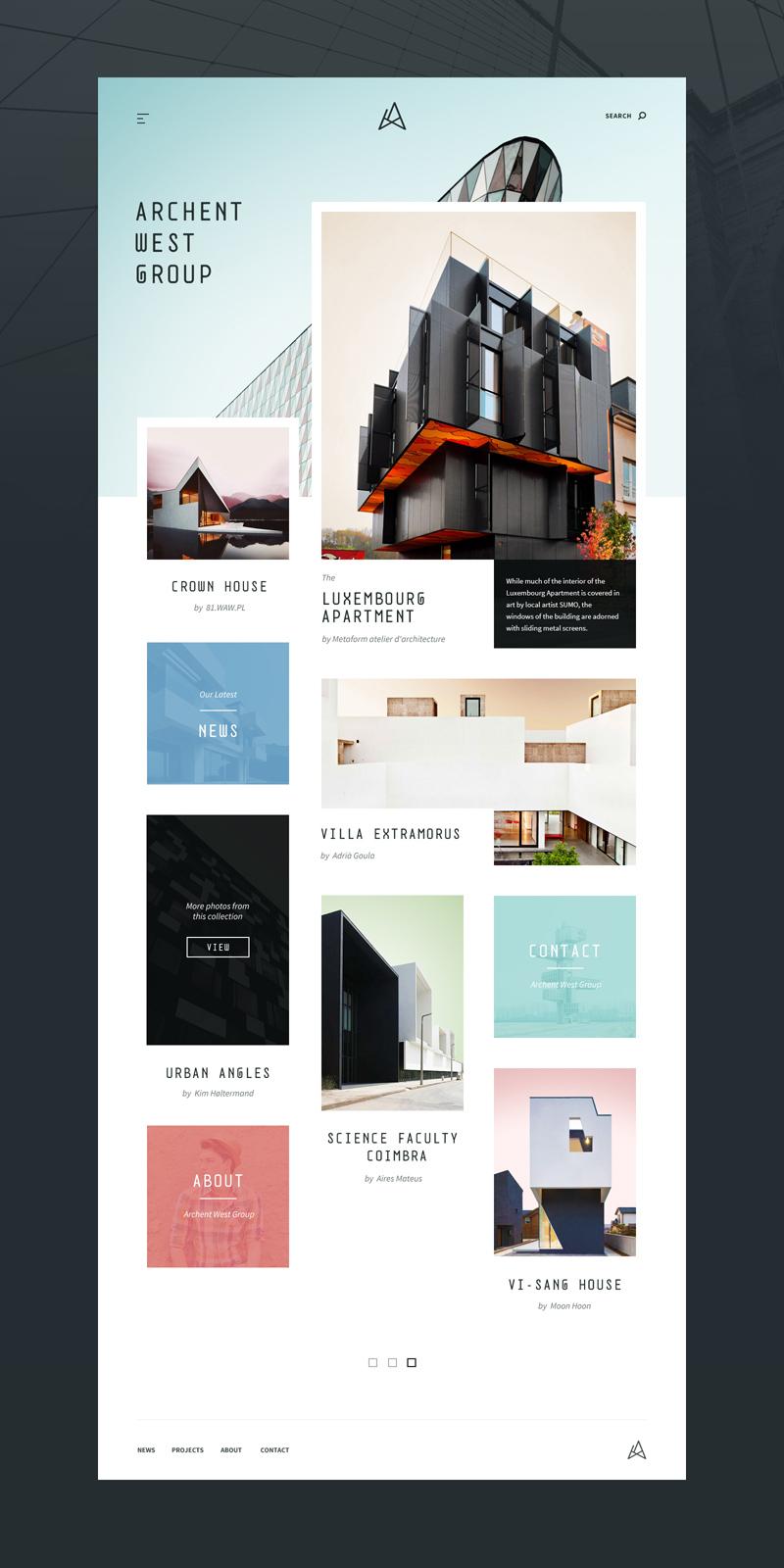 Architecture Website Template Concept - Adobe XD - Freebie