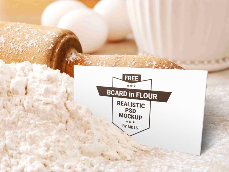 Bakery Business Card In Flour Mockup - PSD Freebie - Freebie Supply