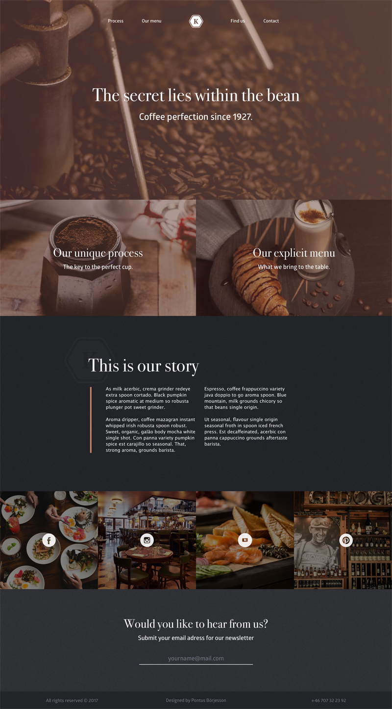 Coffe Place Landing Page Template - Free Sketch - Freebie Supply