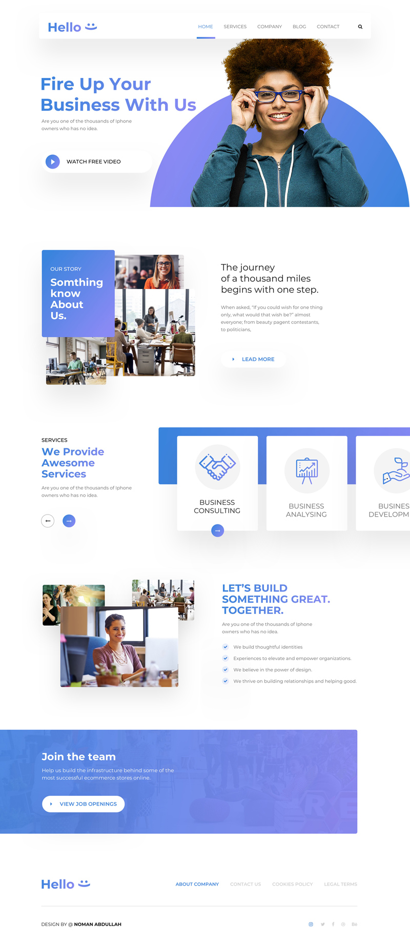 Creative Startup Landing Page Template - Free Sketch - Freebie Supply