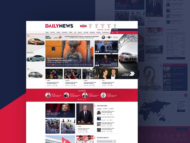 Daily News Site Template PSD Freebie Freebie Supply - News website design template
