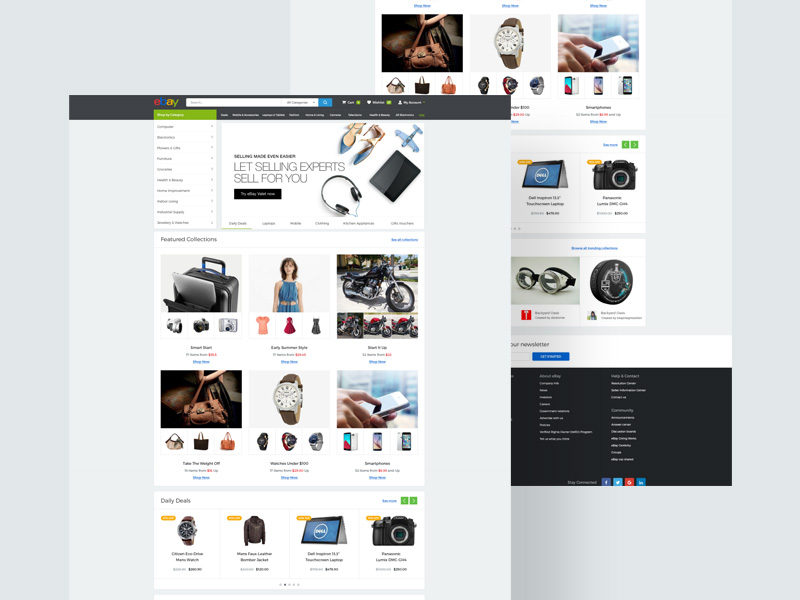 Ebay Landing Page Template Free PSD Freebie Supply - Ebay website template