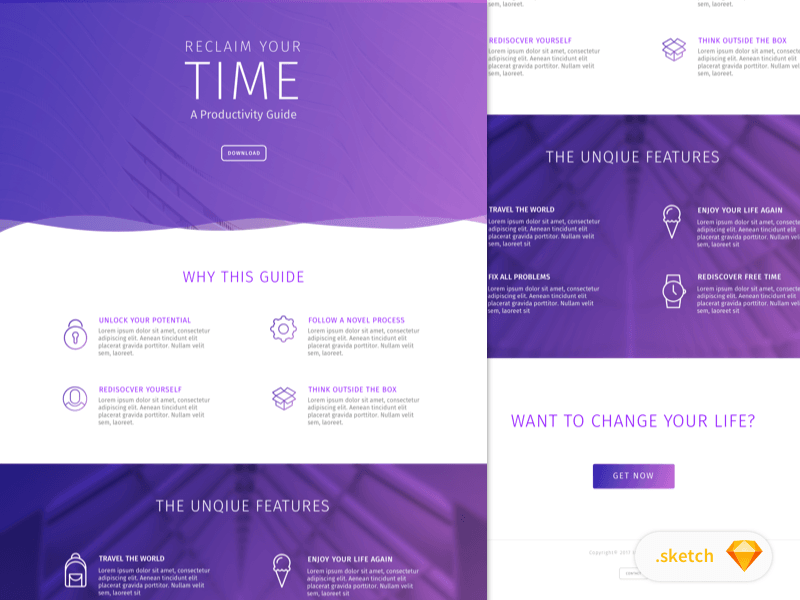 Ebook Landing Page Template for Sketch - Freebie Supply