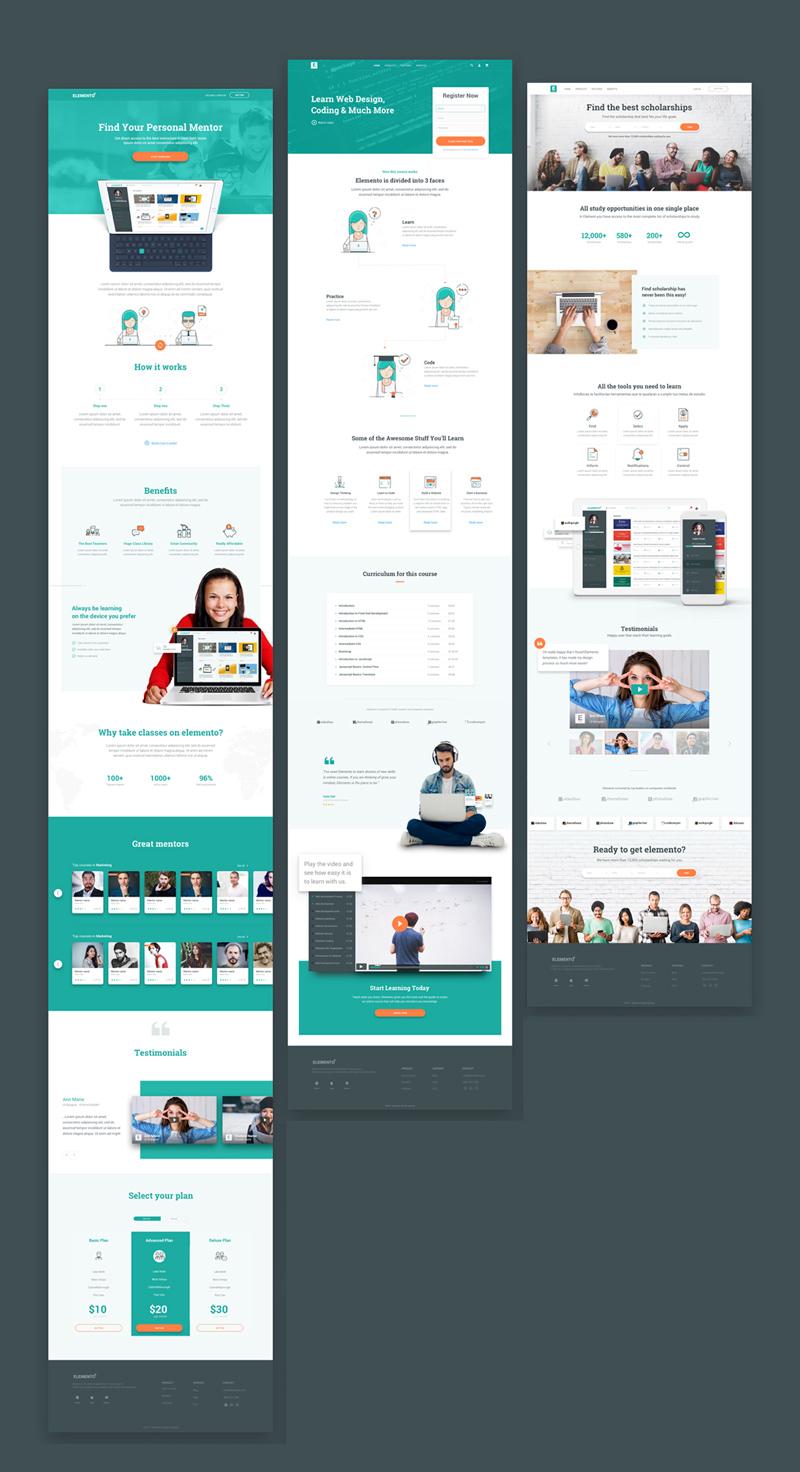 Education Website Template Sample - Elemento - Freebie Supply