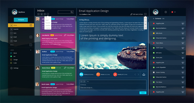email dashboard ui design free psd freebie supply