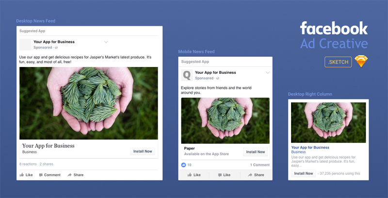Facebook Ad Creative Template Made In Sketch Freebie Supply - Facebook advertising template