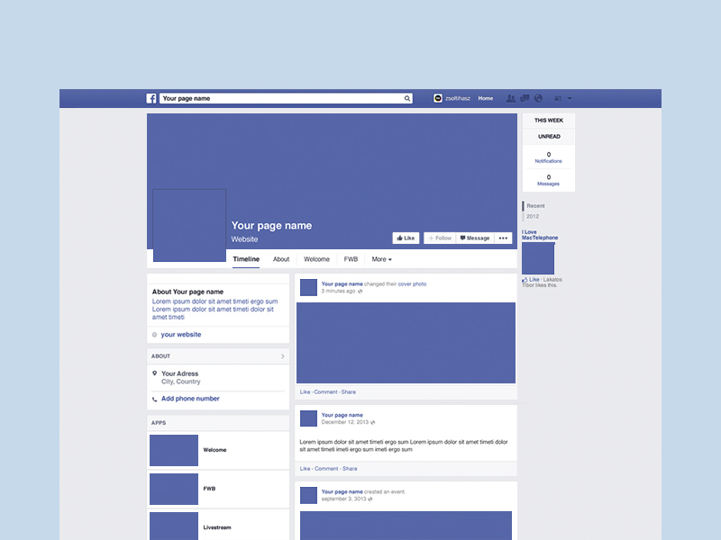 Facebook page mockup psd freebie freebie supply for Facebook app template psd
