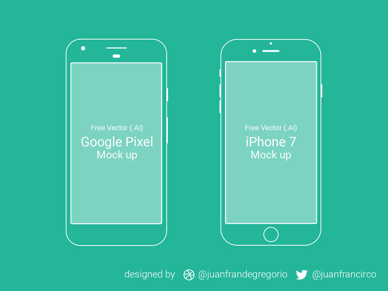 Google Pixel and iPhone 7 Wire Mockups - Freebie Supply