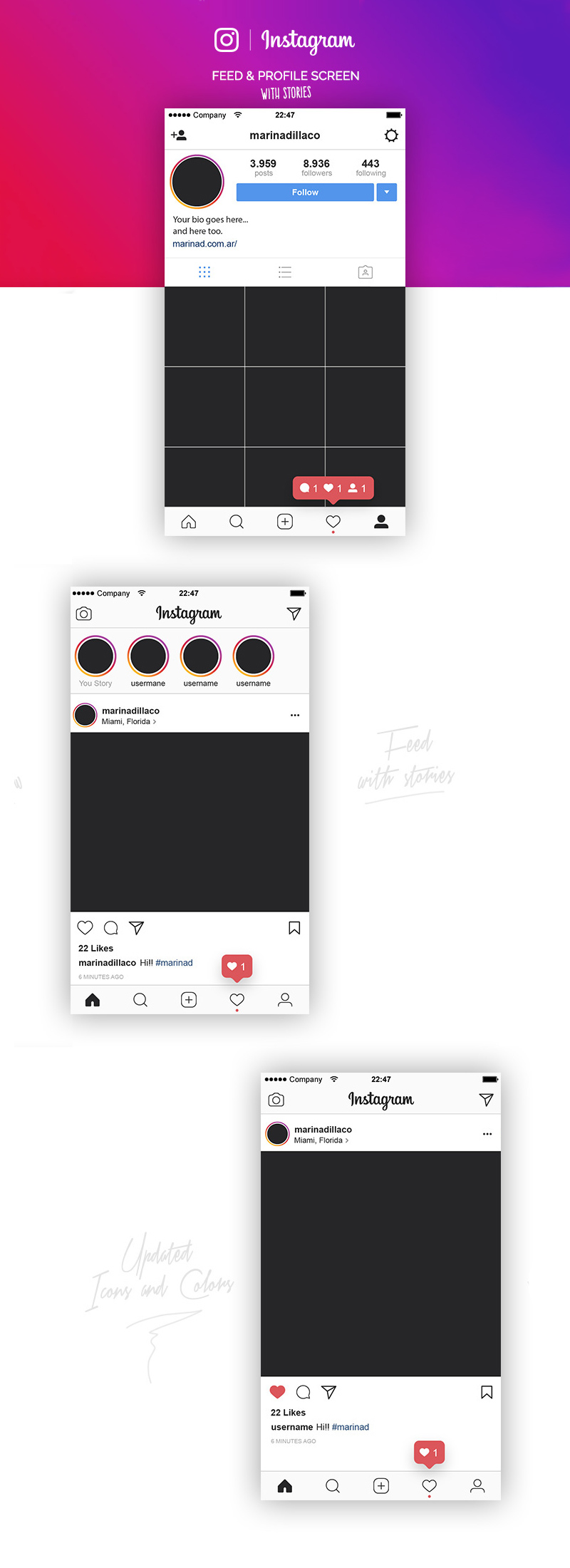 instagram feed profile layout ui vector template freebie supply. Black Bedroom Furniture Sets. Home Design Ideas