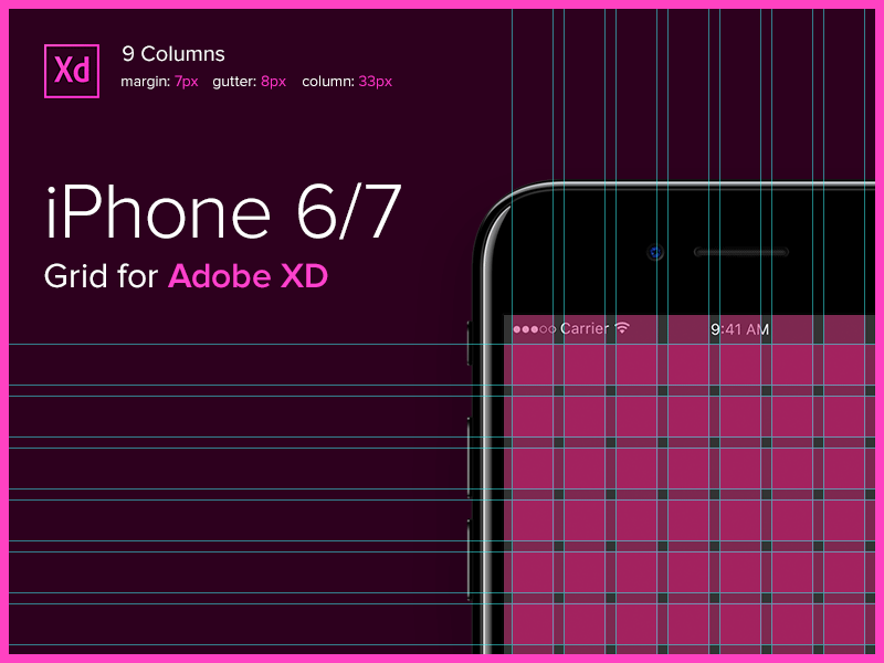 iPhone 6/7 Grid for Adobe XD