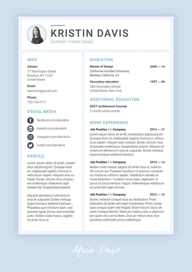 modern resume template - psd freebie