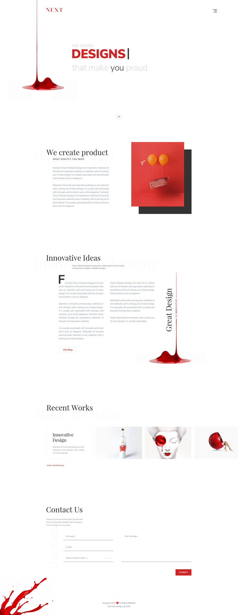 Next - Agency Landing Page Design Template - Freebie Supply