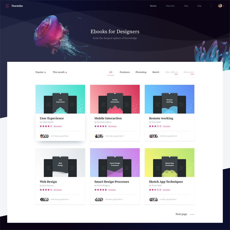 Nuemba eBooks Website Template - Free Sketch - Freebie Supply