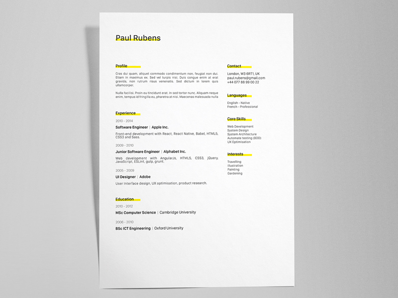 creative resume  cv template - illustrator