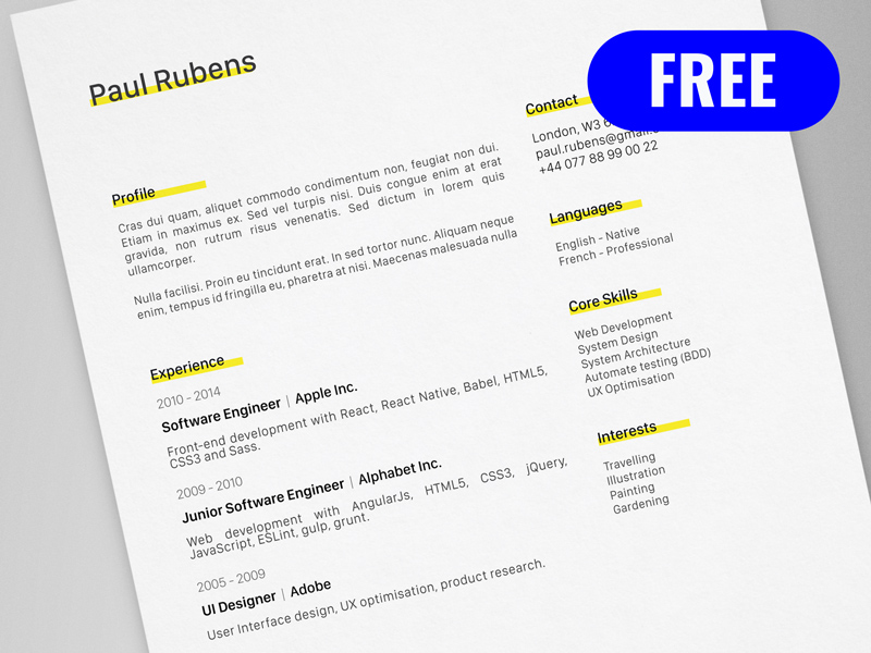 Adobe Resume Template  Resume Templates And Resume Builder