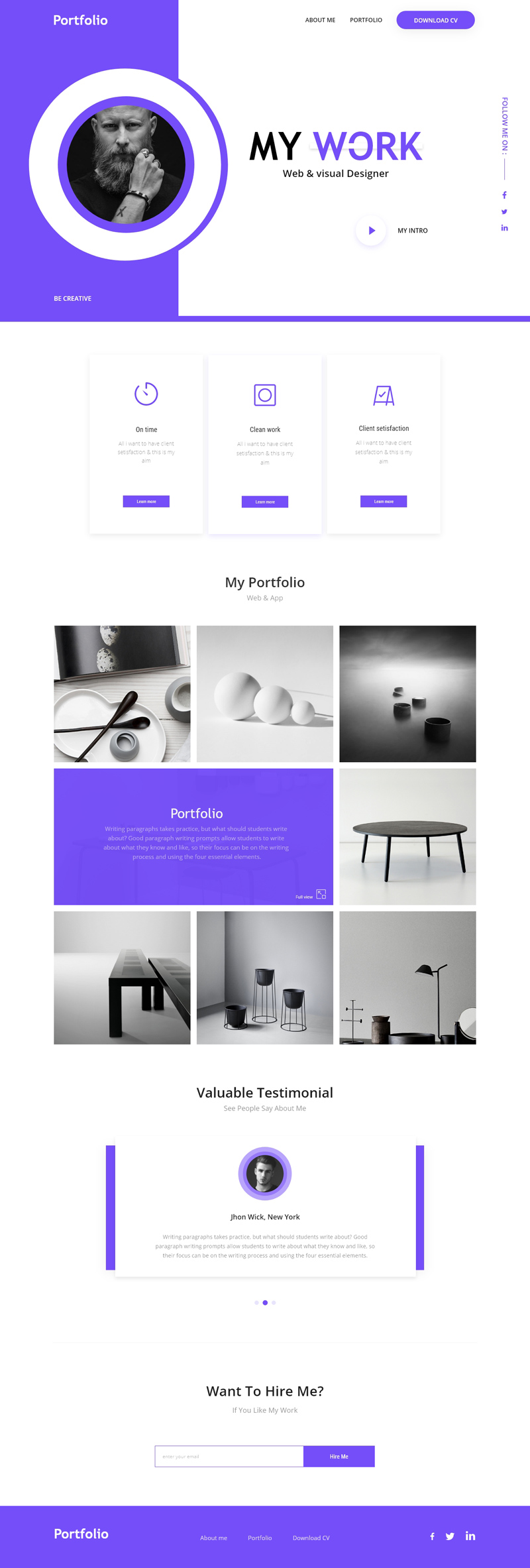 personal portfolio template - adobe xd