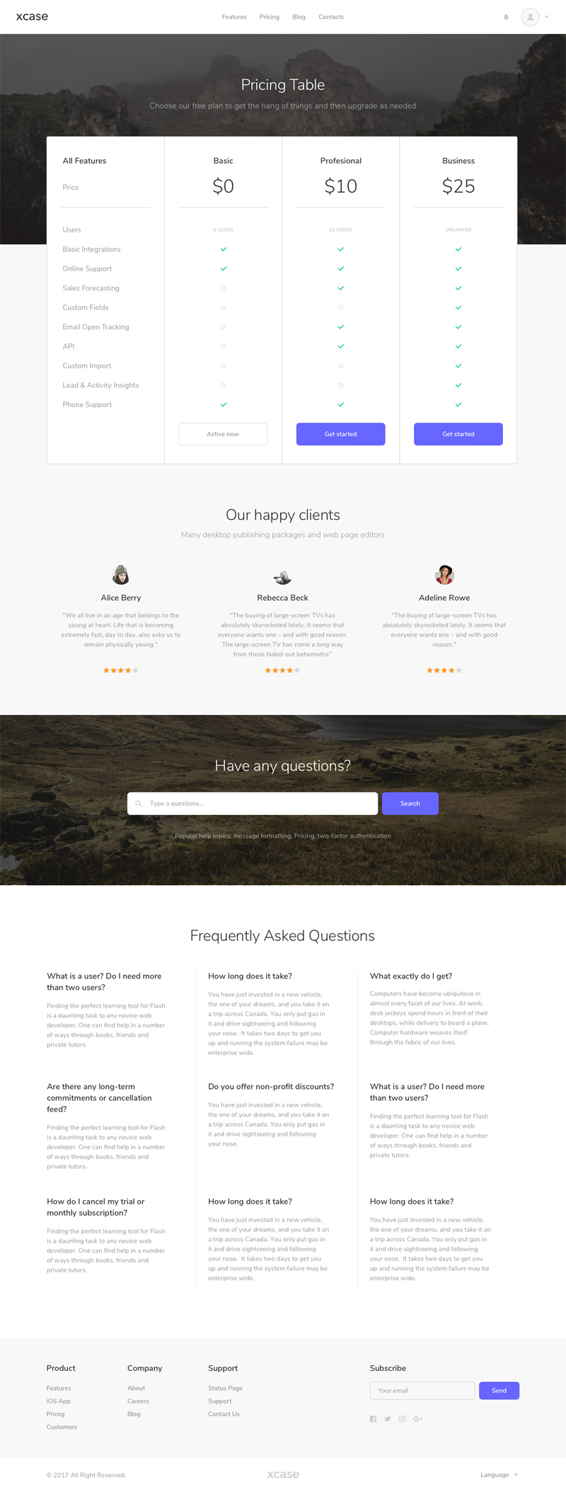 Pricing Table Website Template made in Sketch - Freebie Supply