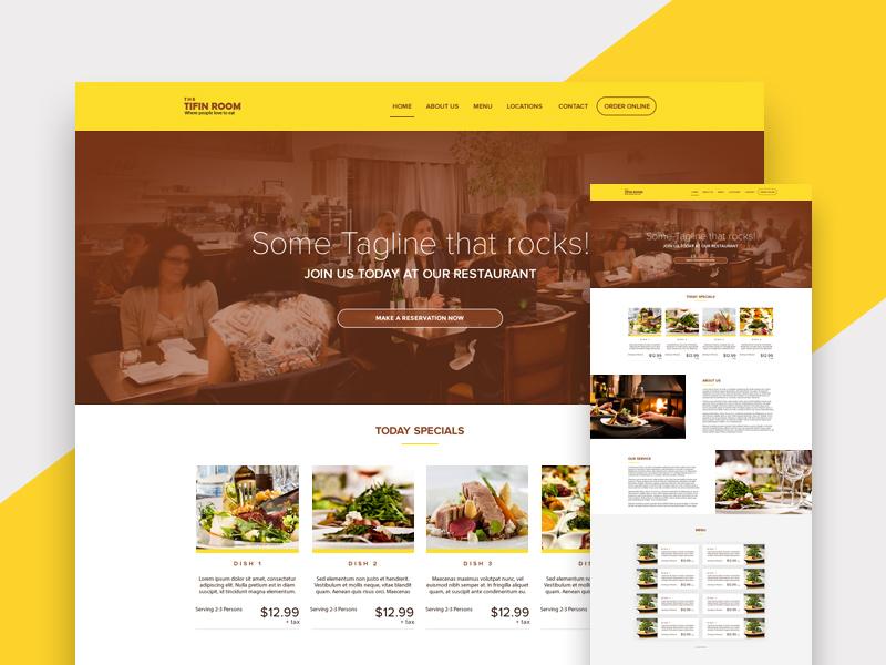 Restaurant web design template psd freebie supply