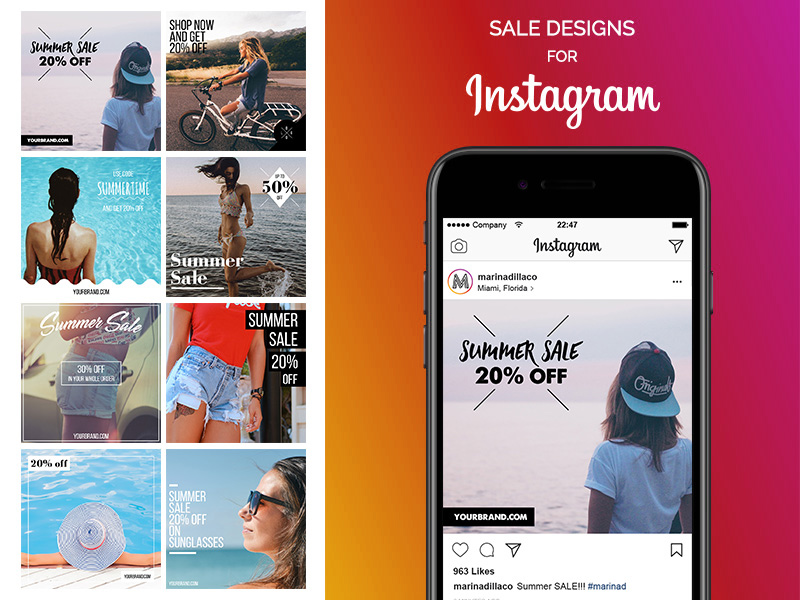 sale designs for instagram ui template mockup psd freebie
