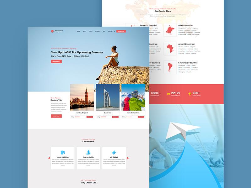 Travel Agency Website Template - Free PSD - Freebie Supply