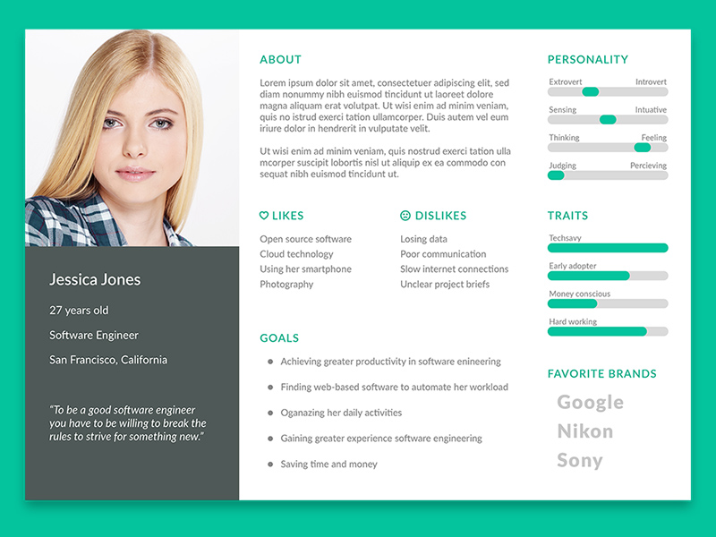 user persona template free psd freebie supply
