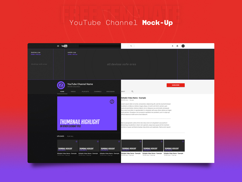YouTube Channel Mockup Template - Free PSD - Freebie Supply