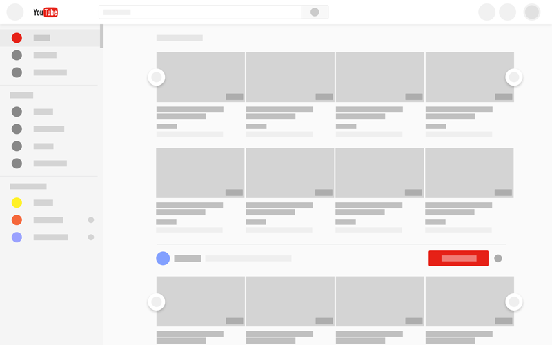 YouTube New Design Wireframe for Adobe XD - Freebie Supply