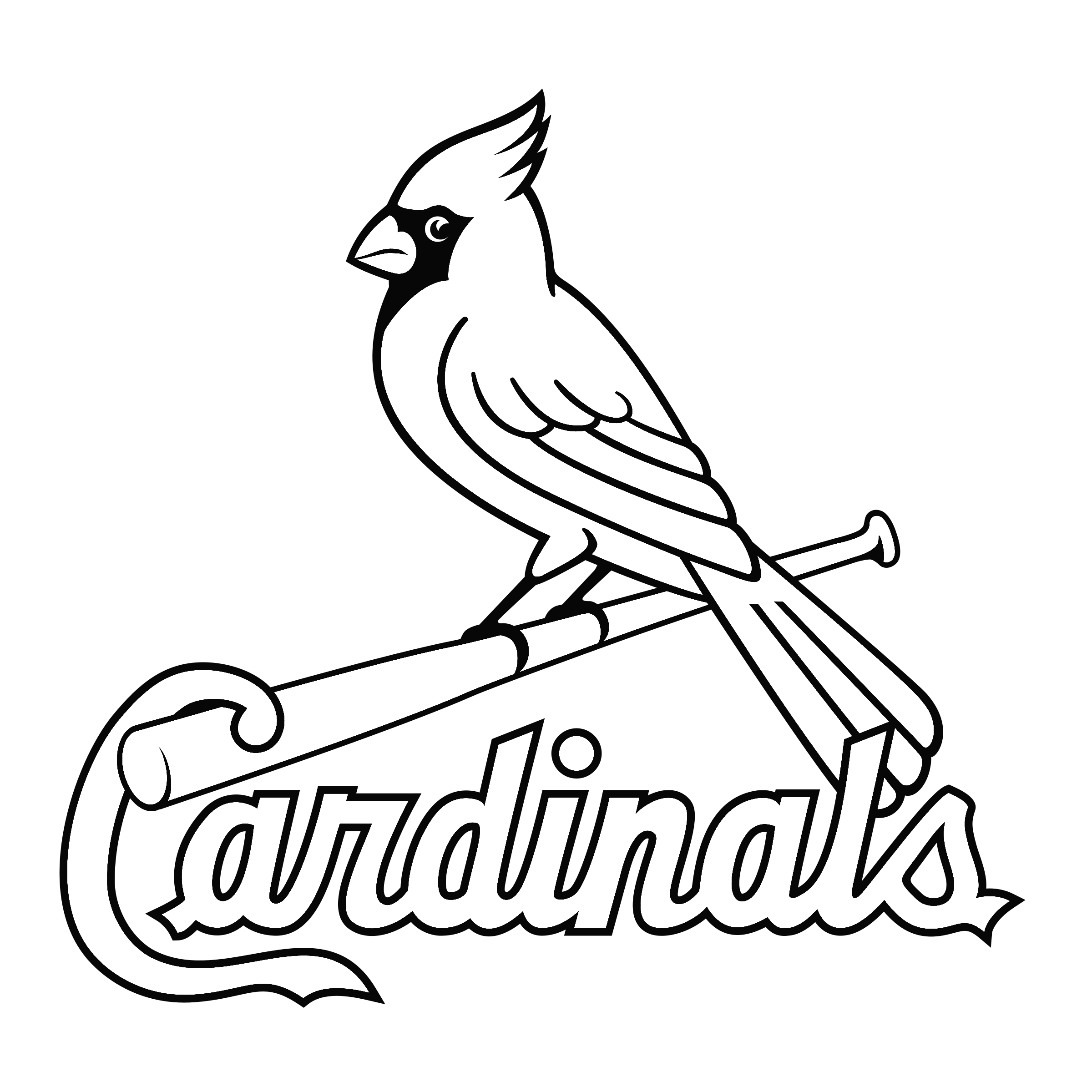 st louis cardinals logo black and white