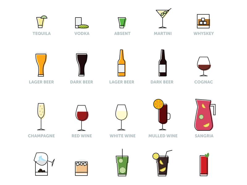 free beverage icon set - bar  cocktail  coffee