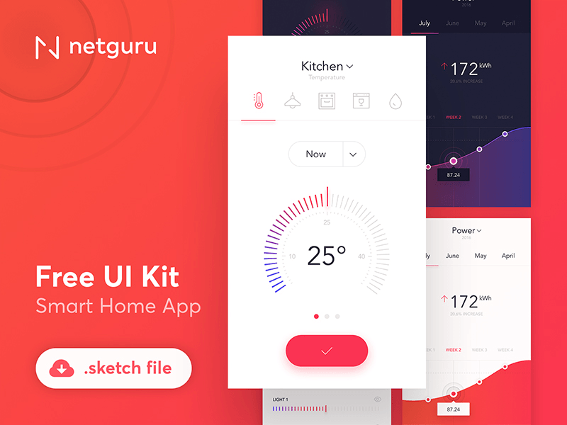 Smart home app ui kit free sketch freebie supply - Web application home page design ...