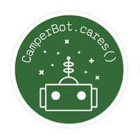 freeCodeCamp sticker that says 'Because CamperBot Cares'