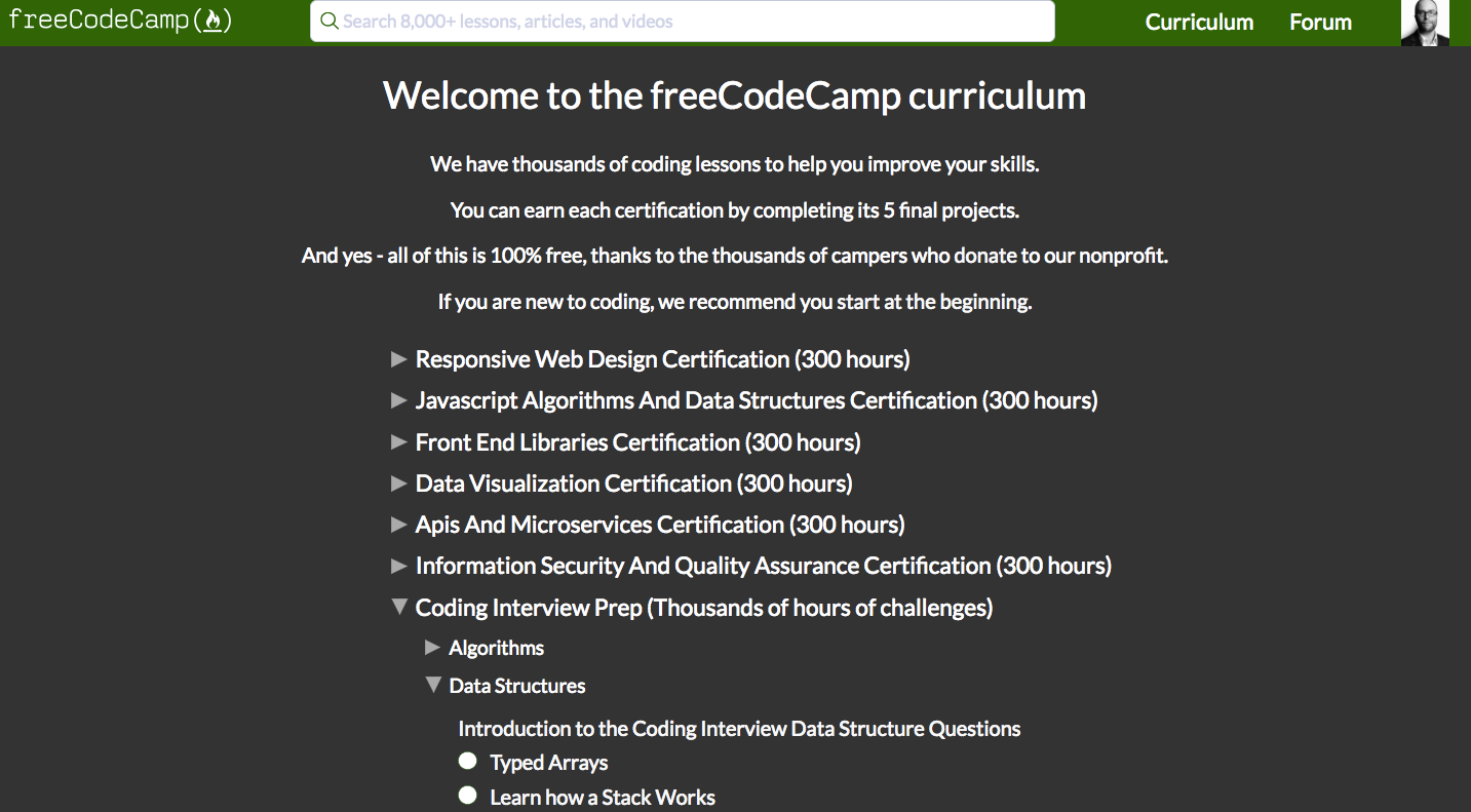 freeCodeCamp's new coding curriculum is now live with 1,400 coding lessons and 6 developer certifications you can earn