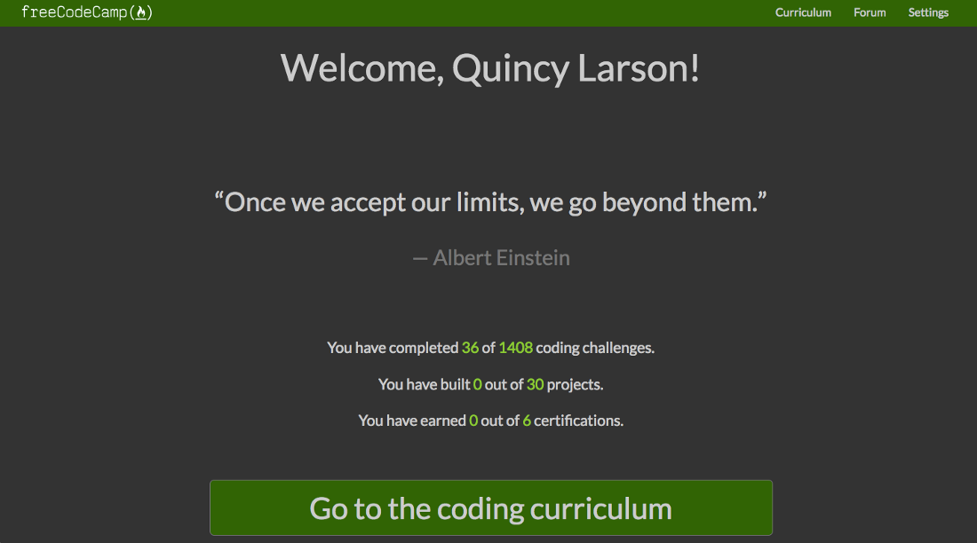 A screenshot of the new welcome page with statistics. The quote says 'Once we accept our limits, we go beyond them' - Albert Einstein