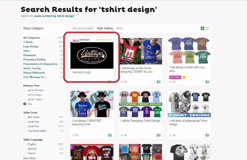 Fiverr tshirt design 5 stars