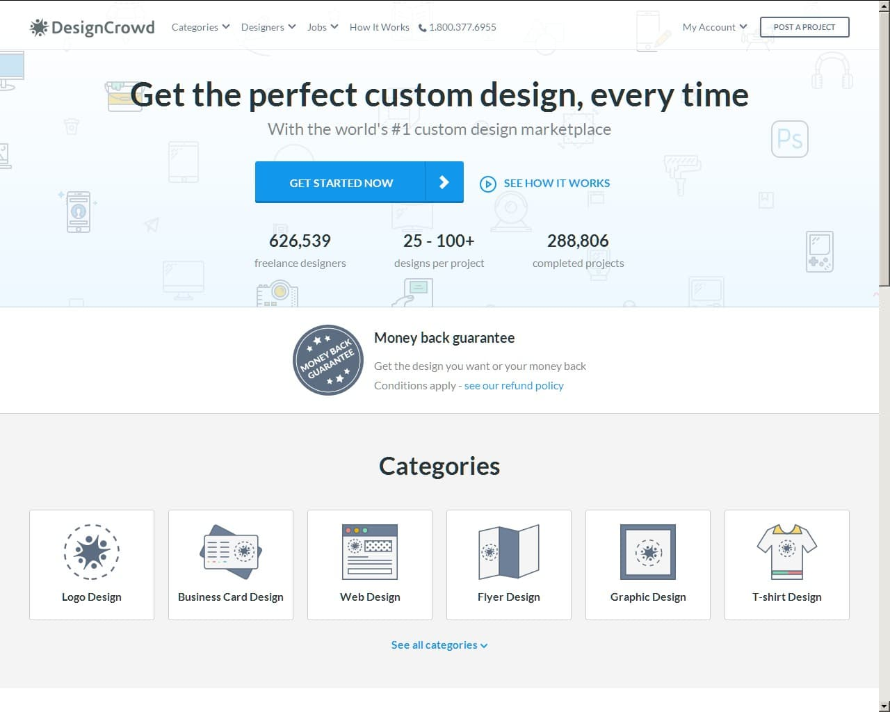 DesignCrowd's user interface