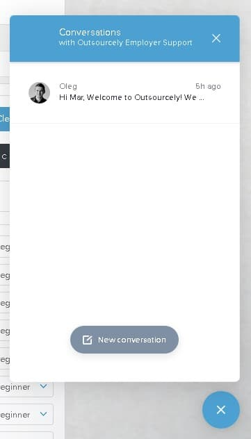 Outsourcely live chat