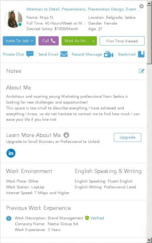 A sample of a freelancer's profile in Outsourcely